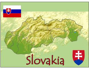 slovakia europe map flag emblem