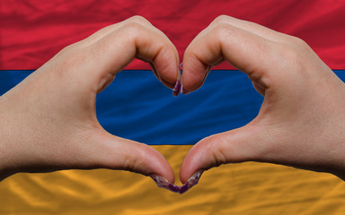 over national flag of armenia showed heart and love gesture made
