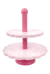 Wooden toy cake stand without cupcakes on white background