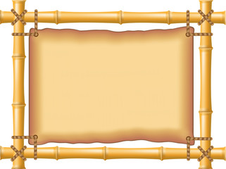 frame made of bamboo and old parchment
