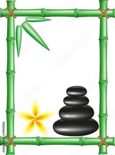 spa zen stones and frame bamboo vector illustration