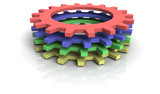 four 3d cog wheels