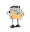 3d robot hold envelope with earnings