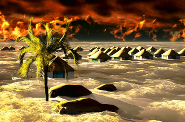 Tsunami destroying bungalows