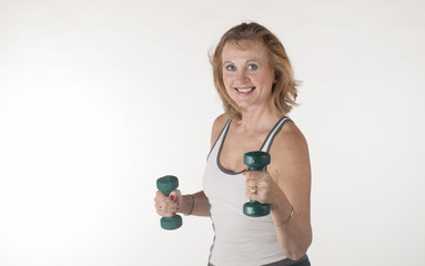 One elderly woman trained fitness