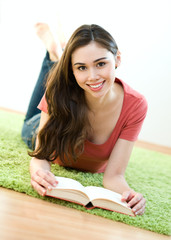 Young women with book