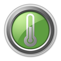 "Green 3D Style Button ""Thermometer / Temperature"""