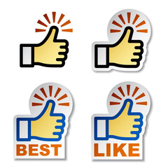 vector thumb up hand stickers