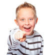 young boy pointing at you