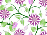 Abstract pink clematis seamless pattern