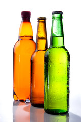 Beer in plastic bottle and Two glass bottles with beer, brown an