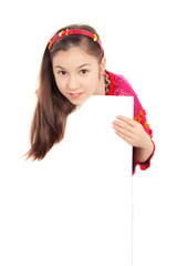girls show a blank poster