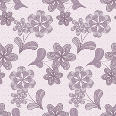 Violet seamless pattern with flowers