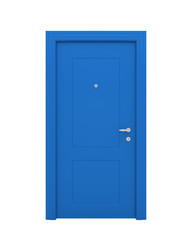 The closed blue door
