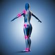 Silhouette junger Frau mit Gelenkschmerzen und Skelett