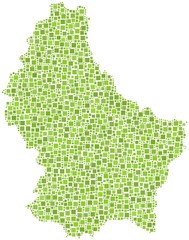 Map of Luxembourg (Europe) in a mosaic of green squares