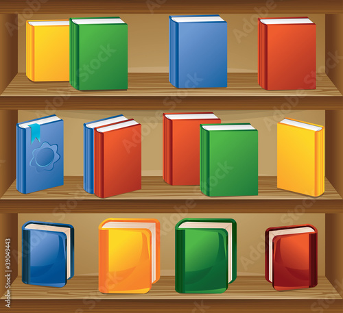 vector wooden shelf with books