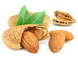 Almonds and kernels with leaves