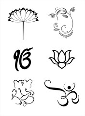 Ganesh, Aum , lotus , Hinduism , India