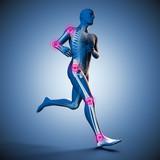 Fototapety Laufender Mann Silhouette mit Skelett und Gelenkschmerzen