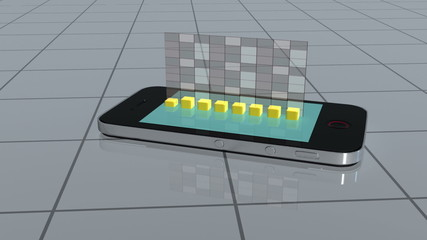 Smartphone slides on tiles and projects a bar chart