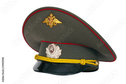 Russian military peaked cap isolated on white background