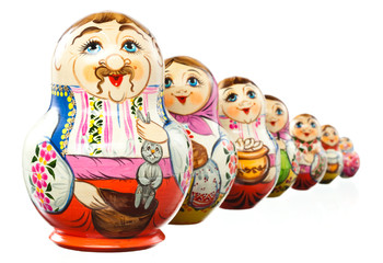 Ukrainian matryoshka isolated on white. with clipping path