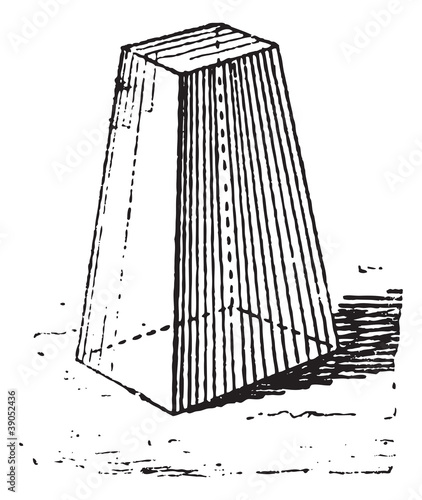 Truncated pyramid, vintage engraving.