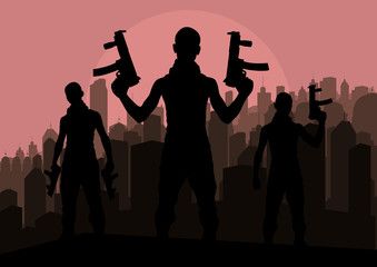 Bandits and criminals silhouettes in skyscraper city