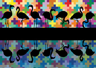 Colorful mosaic and flamingo birds silhouettes reflection