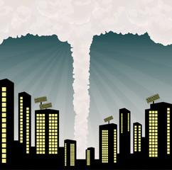 Tornado into city center illustration vector background