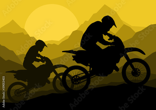 Motorbike riders motorcycle silhouettes in wild mountain