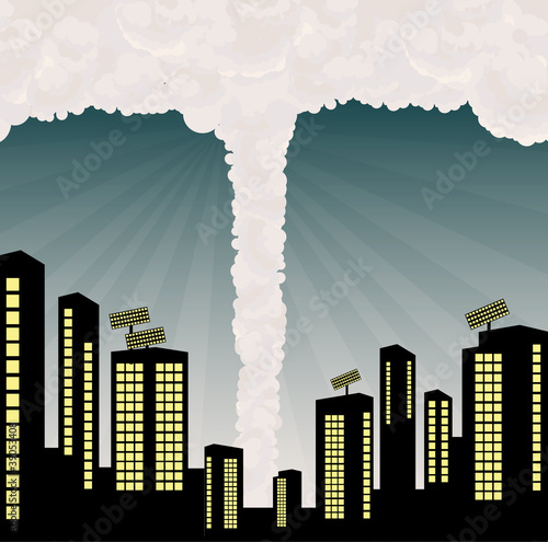 Tornado into city center illustration vector background