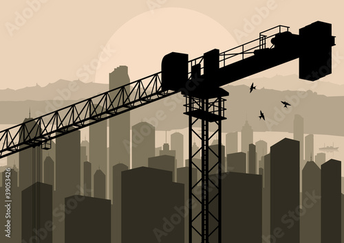 Industrial skyscraper city and crane landscape skyline