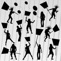 Protesters crowd silhouettes collection background illustration