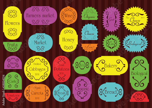Colorful organic farmers market food labels frames and elements