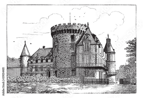 Chateau of Rambouillet, vintage engraving.
