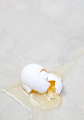 Broken Egg on Kitchen Floor
