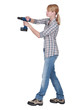 Female DIY fan holding power drill