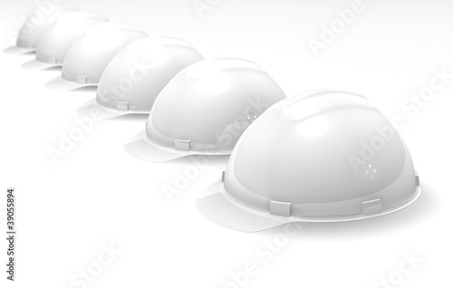 Helmets on a white background