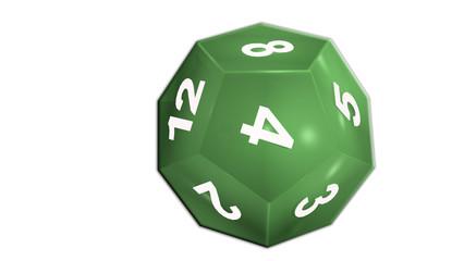 dé 12 faces vert