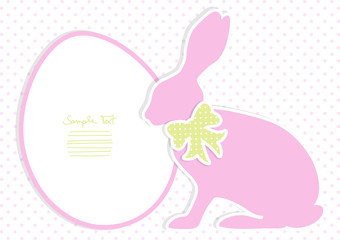 Pink Bunny With Green Bow Dots Background
