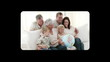 Hand scrolling vertically through family videos on tablet