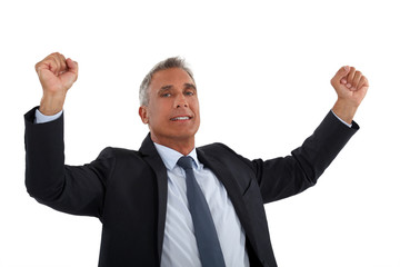 Businessman rejoicing