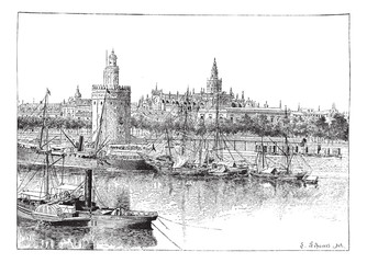 View of Seville, Spain, vintage engraving.