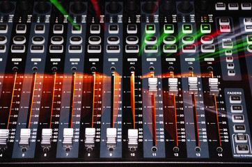 Main Mixer Board of Sound System with Zoom Burst Light