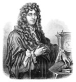 Huygens. - Drawing of Edward Garnier. of Edelinck after, vintage