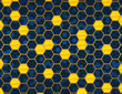 Blue and Gold Honey Comb NON-Repeating Background Pattern