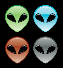 Web 2.0 Alien Head Icon Set
