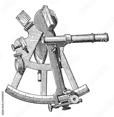 Sextant isolated on white, vintage engraving.
